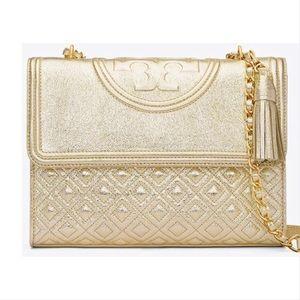 Tory Burch Gold Metallic Fleming Convertible bag